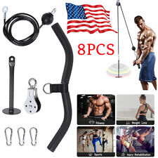 Fitness Pulley Cable Gym Workout Equipment Machine Attachment System Home DIY US