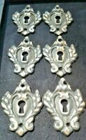 """6 vintage antique eschutcheons ornate large size 2 1/4"""" jewelry component #E1"""