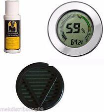 Cigar Caddy 2oz Humidor Seasoning kit Large Silver Digital Hygrometer Humidifier