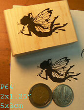 P64 Butterfly fairy rubber stamp wood mounted