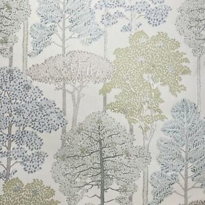 Arthouse Wallpaper Silver Glitter Trees Green Blue White Forest Leaf Sparkle