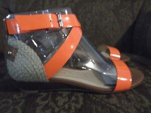Enzo Angiolini Eakeddy Orange Wedge Sandals Size 6.5 6 1/2 US New