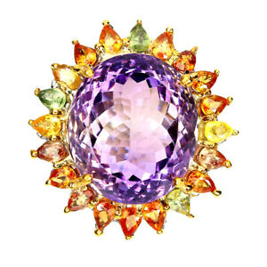 Handmade Natural Oval Amethyst 32ct Sapphire 925 Sterling Silver Ring Size 8.5