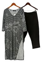 Women With Control Petite Set PL Printed Tunic With Crop Pants Set Black A391738