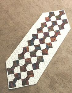 """Hand Made Quilted Table Runner/Topper ~14"""" X 41"""" ~100% Cotton~Off white,multi"""