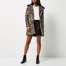 River Island Talla 16-18 Imitación Piel Leopardo Animal Print Mujer Abrigo Chaqueta De Las Señoras