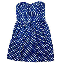BeBop Junior's Sleeveless Fit and Flare Dress Navy White Polka Dots Size Medium