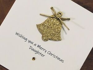 Personalised Handmade Christmas Cards - Wooden Gold Glitter Bell 13.5cm X 13.5cm