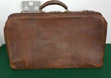 "Large 22"" Vintage SMITHS Brown Leather Overnight Luggage Case ""Doctors Bag"""