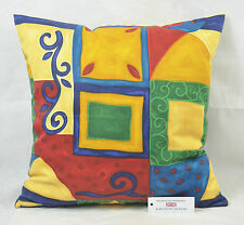 "CUSHION COVER 19.75""x19.75"" 50cm sq Bright Colours Abstract Print 100% Cotton"