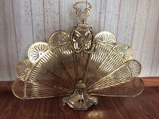 Vintage Brass Peacock Fireplace Fan Folding Screen Art Deco 28� Tall x 37� Wide