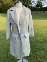 1960s Vintage Butte Knit Skirt Suit Wool Blend Blue Trench Coat Jacket 2pc. Set