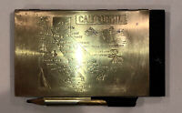 California VINTAGE brass-plated metal cover notepad w/holder - FREE SHIP