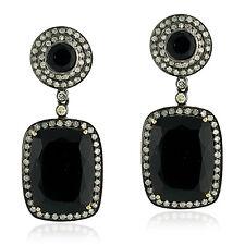18.31ct Onyx Diamond Dangle Earrings 18k Gold Sterling Silver Jewelry Gift