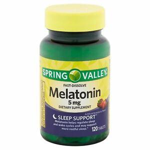 Spring Valley FAST DISSOLVE  Melatonin 5mg - 120 ct Strawberry Tablets!Drug-Free
