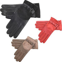 Ladies Womens Super Soft Genuine Leather Suede Gloves Wrist Popper Red Black