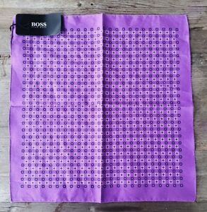 Hugo Boss Cotton Pocket Square Purple - Made in Italy - New