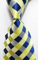 New Classic Checks Yellow Blue White JACQUARD WOVEN 100% Silk Men's Tie Necktie