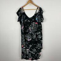 City Chic Womens Dress Medium Black Floral Flutter Short Sleeve Cold Shoulder