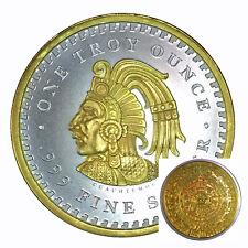 2018 Aztec Calendar Cuauhtemoc Silver Ounce 1 OZ 24K Gilded Gold