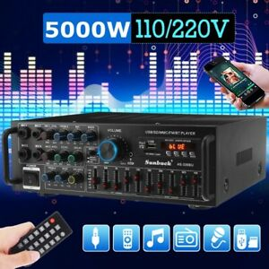 5000W bluetooth5.0 Home&Car Stereo Power Amplifier 2 Channel AUX HiFi Amp SD FM+