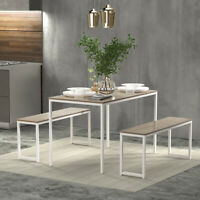 3x Dining Set Table w/2 Benches Kitchen Dining Room Wood Table Top&Metal Frame
