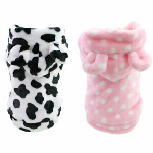 Cute Small Pet Dog Jacket Hoodie Vest Warm Fleece Dots Puppy Cat Coat Clothes
