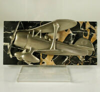 Art Deco Doppeldecker Tisch Flugzeug Modell Alu auf Marmor Vintage 20er Jahre