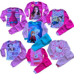 Girls Fleece Pyjamas Trolls Hello Kitty Despicable Me Disney Frozen Soy Luna