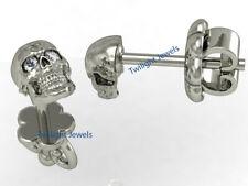 Round Natural Diamond Skull Stud Earring in 14K White Gold