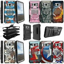 For Samsung Galaxy S8 Active Dual Layer Stand Holster Clip Case - Animal Designs