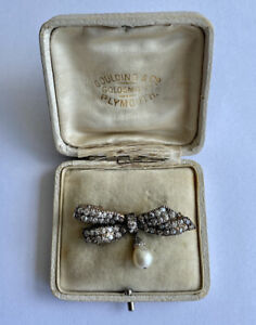 Antique 19th Century Victorian 9ct Gold Diamond, And Pearl Bow Brooch 2.5ct