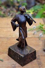 Memento Mori Carved Wood Grim Reaper Skull Death Plays the Violin