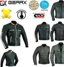 GearX Motorbike Leather Jacket Motorcycle Protective Jacket Coat