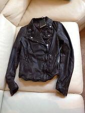 $500 NWT Muubaa Monteria Leather Biker Jacket Dark chocolate US 6 UK 10 EU 38 S