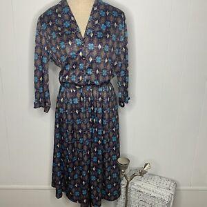 Vintage 70s 80s Blue Red Geometric Print Blouson Secretary Belted Dress Sz 14