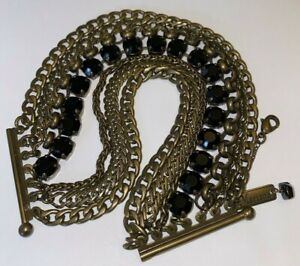 MARIANNA LAYERED CHAIN BRACELET WITH BLACK CRYSTALS - ANTIQUE