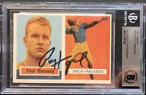 🔥 Paul Hornung HTF 1957 Autographed TOPPS Rookie Card 🔥 Beckett Certified Rare