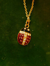 "Red Black Enamel Ladybug Gold tone Rhinestone 18"" Chain Necklace 3k 57"