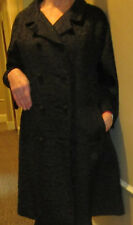 Hattie Carnegie stunning vintage silk brocade coat, black with red silk lining L