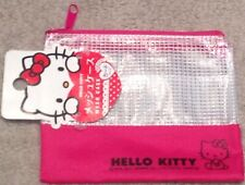 NWT SANRIO PINK HELLO KITTY CAT MESH COIN PURSE COSMETIC STORAGE POUCH GIRL GIFT
