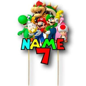 Super Mario Cake Topper Personalised Kids Party Decoration Image Cut Card