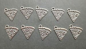10 x Pizza Slice Charms, Fast Food Charms, Junk Food Charms, Jewellery Making