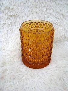 Amber Tiara Glass Diamond Point Candleholder, Decorative Home Decor