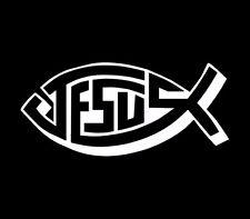 Jesus Fish Christian Cross Vinyl Car Decal Decals Bumper Sticker Window Wall