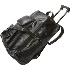 NEW Genuine Leather Black Baggage.Black Travel Bag.Flight Luggage.Rolling Pack.