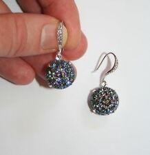 Vintage 1940s big  smoke Topaz ab sugar glass designer silver gatsby earrings