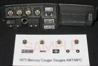 1973 MERCURY COUGAR GAUGE FACES for 1/25 scale AMT and MPC model car KITS