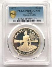 Haiti 1977 Human Rights 50 Gourde PCGS Silver Coin,Proof,Rare!