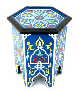Moroccan Side Table Painted Blue Authentic Decor Accent Corner End Piece Size 2